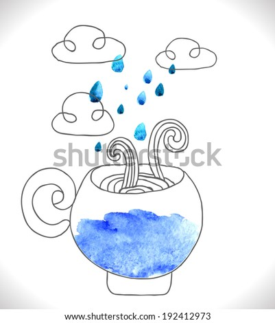 tea cup with clouds and rain, cute illustration - stock photo