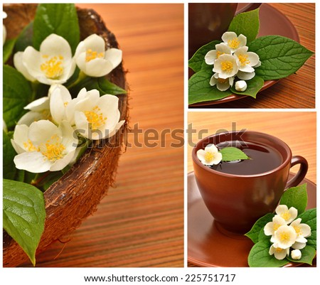 Tea cup with jasmine flower on the wooden background. Collage - stock photo