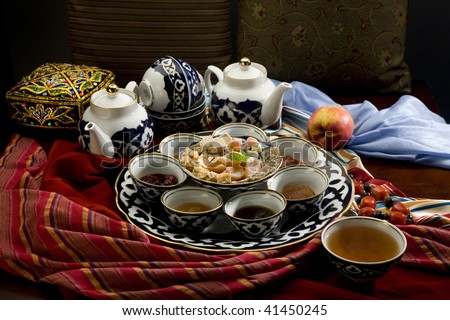 Tea drinking in the Asian style - stock photo