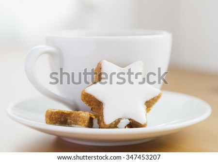Tea in big white cup with cakes  - stock photo