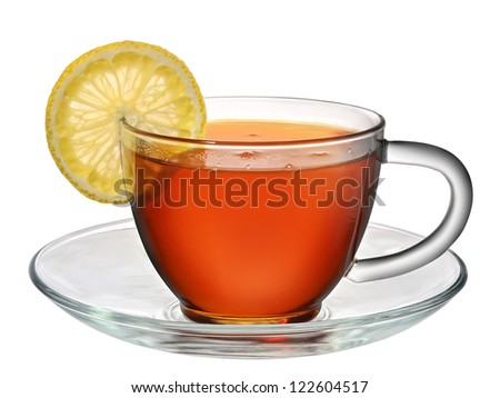 tea in cup with lemon isolated on white background - stock photo