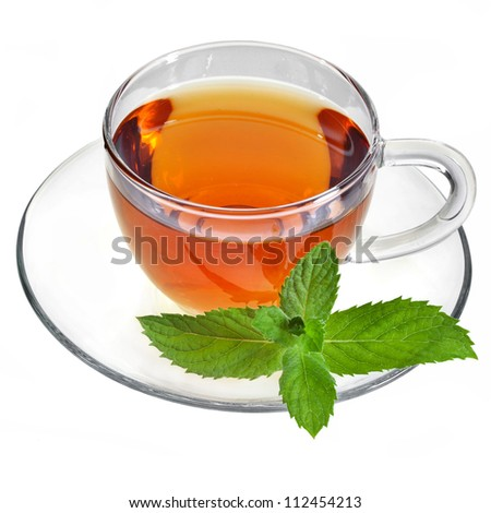 tea in glass cup and saucer isolated  on the white - stock photo