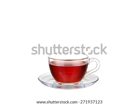 Tea in glass cup isolated on white background - stock photo