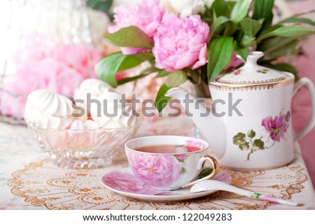 Tea in the Shabby Chic style - stock photo