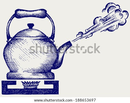 Tea kettle on gas stove. Doodle style. Raster version - stock photo