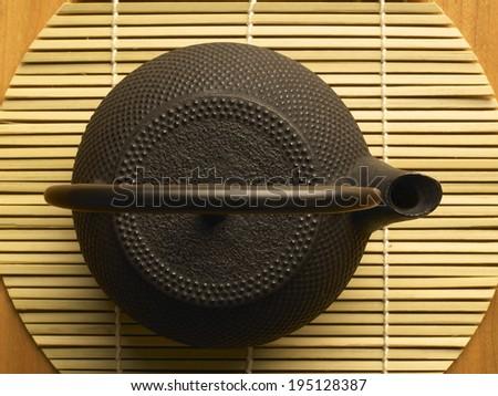 tea, oriental setting on wooden background - stock photo