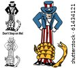 Tea Party Rattlesnake Uncle Sam - stock photo
