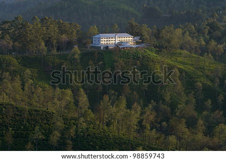 Tea plantation and tea factory in the early morning - stock photo