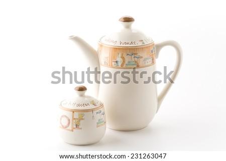 tea pot and sugar pot - stock photo