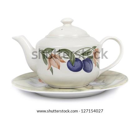 Tea pot isolated on white bcakground - stock photo