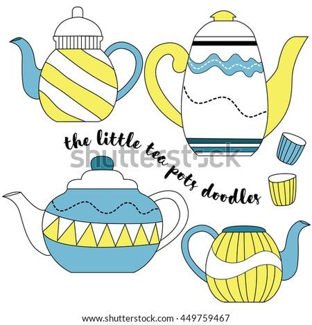 Tea pots doodles - stock photo