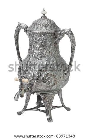 tea samovar isolated on white - stock photo