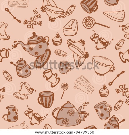 tea seamless pattern - stock photo