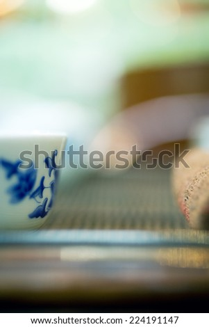 Tea service, cropped view - stock photo