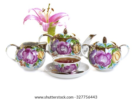 tea set isolated on white background - stock photo