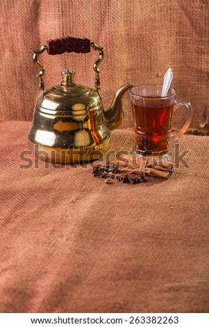 Tea. Tea on a light background. Warm, delicious tea. - stock photo