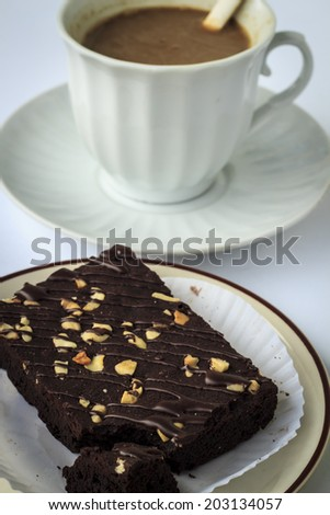 tea time cup of coffee with dessert - stock photo