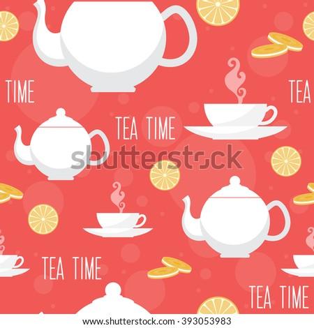 Tea time seamless pattern background. Raster copy - stock photo
