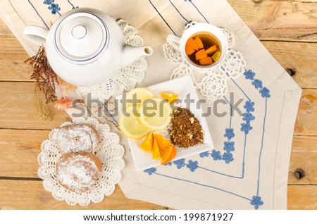 Tea time with a freshly brewed rooibos infusion - stock photo