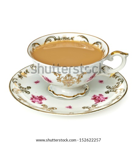 Tea with milk in cup with clipping path - stock photo