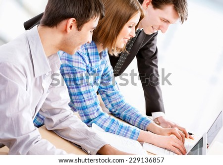 Teacher and students at the University - stock photo