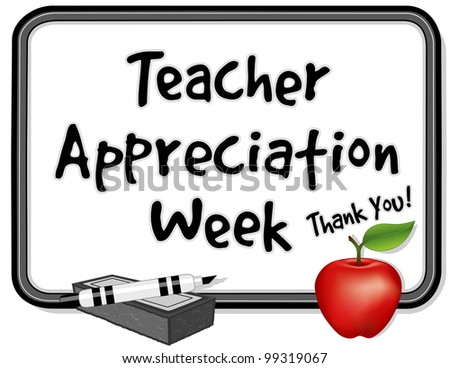 Teacher Appreciation Week. Held each year in USA during first week of May, to honor teacher contributions. Thank you on whiteboard, red apple, marker pen, eraser. - stock photo