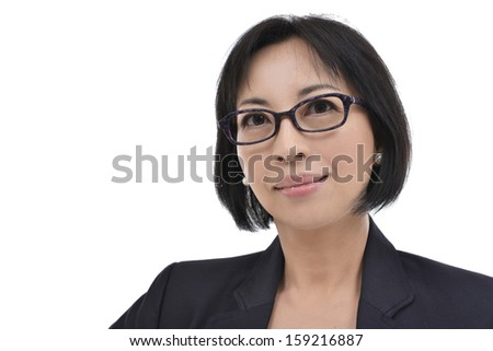 Teacher, asian woman with serious face - stock photo