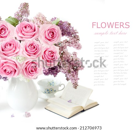 Teacher day (flowers bunch with roses and lilac, map and books isolated on white) - stock photo