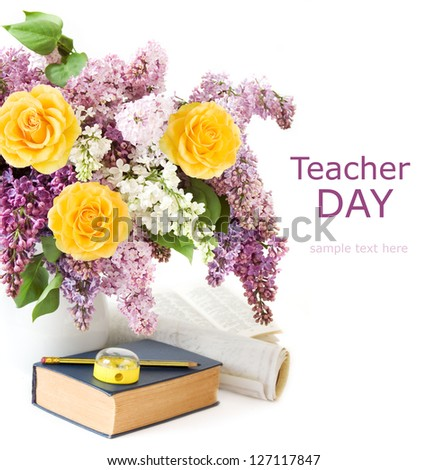 Teacher day (still life with huge lilac and roses bunch, book, pen, map  and knife sharpener isolated on white background) - stock photo