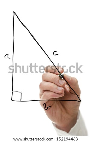 Teacher drawing right triangle on virtual whiteboard explaining Pythagorean theorem. - stock photo