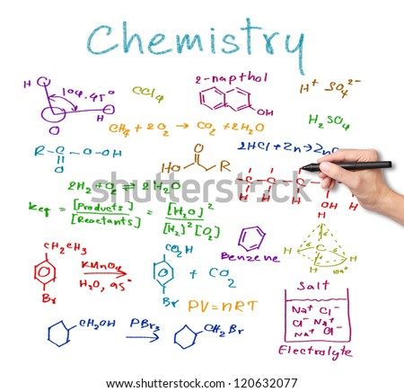 teacher hand writing science and chemical formula - stock photo