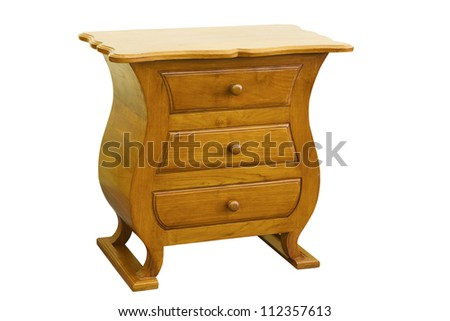 Teak Cabinets ,furniture on white background - stock photo
