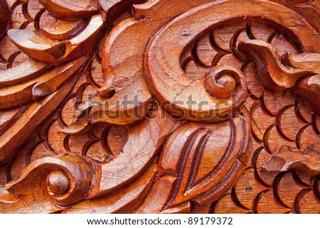 Teak wood craving,Thai style - stock photo