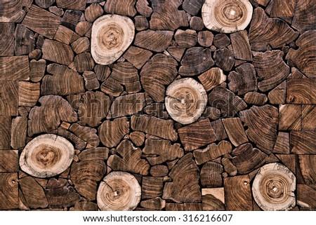teak wood stump background - stock photo