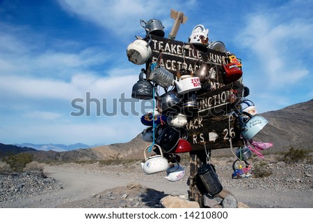 Teakettle Junction in Death Valley - stock photo