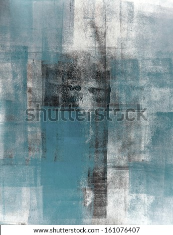 Teal and Black Abstract Art Painting - stock photo