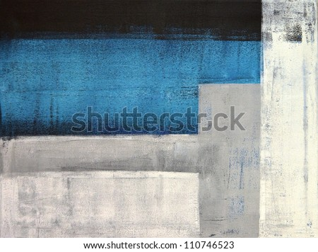 Teal and Grey Abstract Art Painting - stock photo