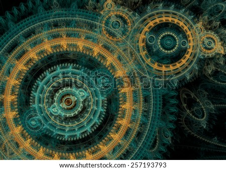 Teal and orange mechanical fractal on black  - stock photo