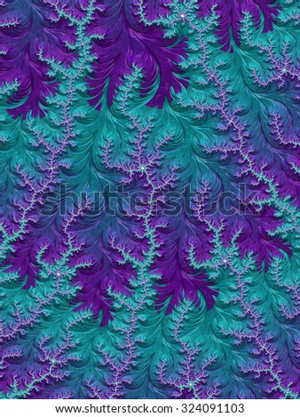 Teal and turquoise blue with amethyst purple frosty decoration - abstract fractal design background - Fall winter 2015 2016 fashion color trends collection - stock photo