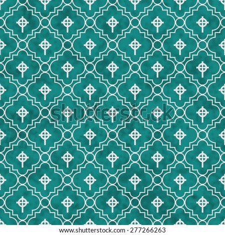 Teal and White Celtic Cross Symbol Tile Pattern Repeat Background that is seamless and repeats - stock photo