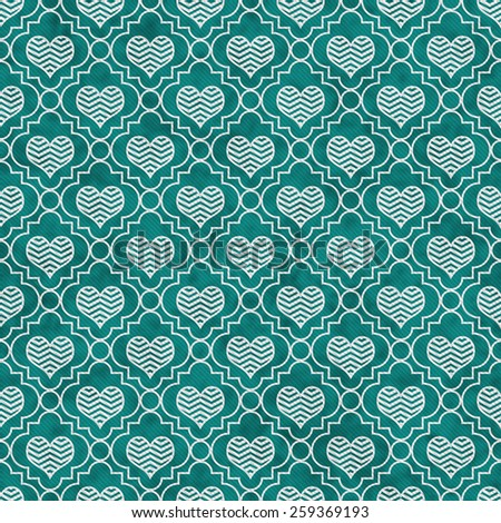 Teal and White Chevron Hearts Tile Pattern Repeat Background that is seamless and repeats - stock photo