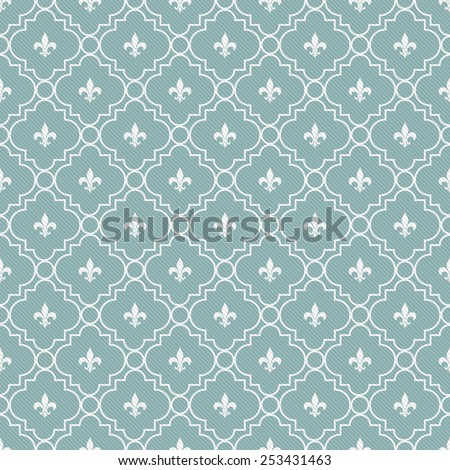 Teal and White Fleur-De-Lis Pattern Textured Fabric Background that is seamless and repeats - stock photo