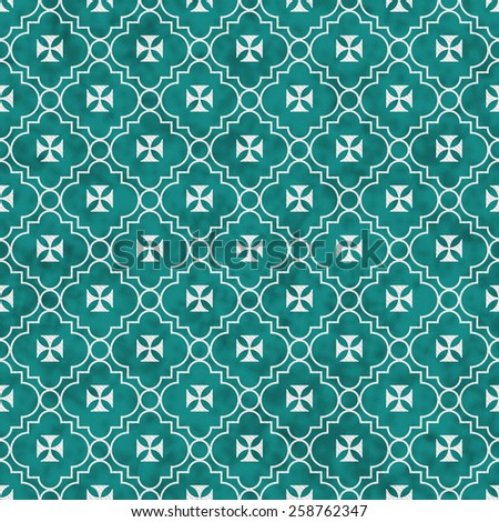 Teal and White Maltese Cross Symbol Tile Pattern Repeat Background that is seamless and repeats - stock photo