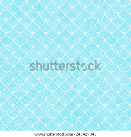 Teal and White Shells with Interlocking Circles Tiles Pattern Repeat Background that is seamless and repeats - stock photo