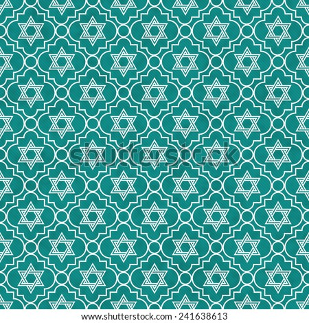 Teal and White Star of David Repeat Pattern Background that is seamless and repeats - stock photo