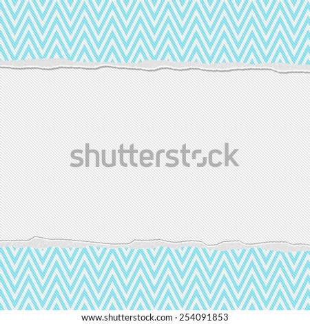 Teal and White Torn Chevron Frame Background with center for copy-space, Classic Torn Chevron Frame - stock photo