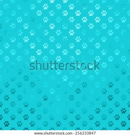 Teal Aqua Blue Turquoise Dog Paws Metallic Foil Polka Dot Texture Background Pattern  - stock photo