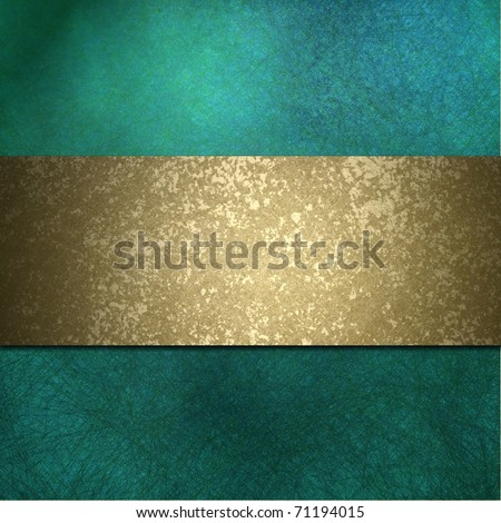 teal blue background with grungy burnished gold stripe, soft faded lighting, elegant layout design, and copy space - stock photo