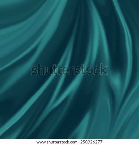 teal blue green material background illustration, elegant waves of silk or satin fabric flowing or draped in abstract design - stock photo