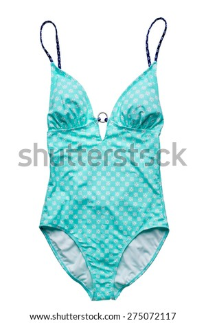Teal one piece swimsuit isolated on white background. - stock photo